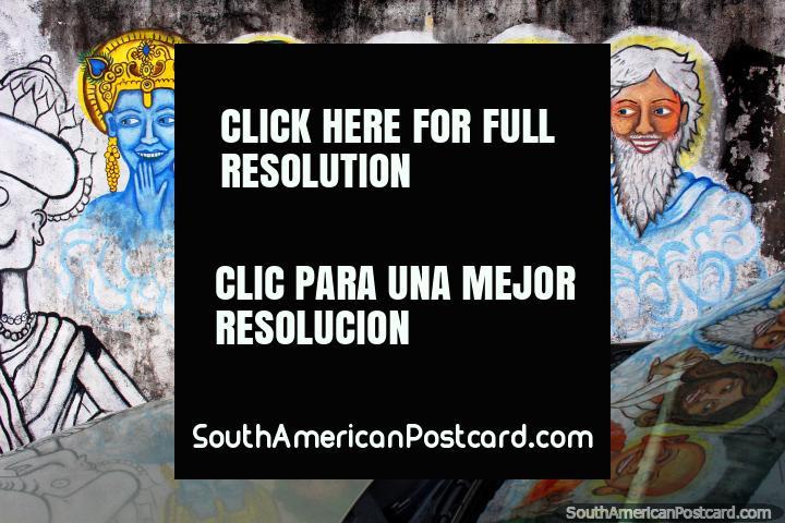 5 sabios de diferentes religiones, el arte del graffiti en Cayenne, en la Guayana Francesa. (720x480px). Las 3 Guianas, Sudamerica.