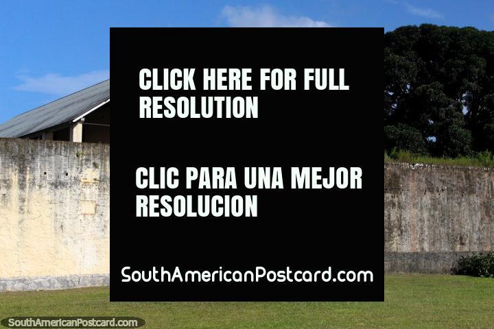 Buildings and walls at Le Camp de la Transportation, prison in Saint Laurent du Maroni, French Guiana. (720x480px). The 3 Guianas, South America.