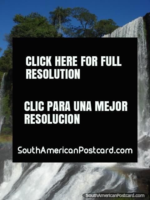 Enormous amounts of water fall onto rocks, Iguazu. (480x640px). Argentina, South America.