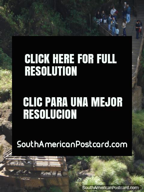 Uma passarela de pedestres de vigia em Iguaçu no rasto mais baixo. (480x640px). Argentina, América do Sul.