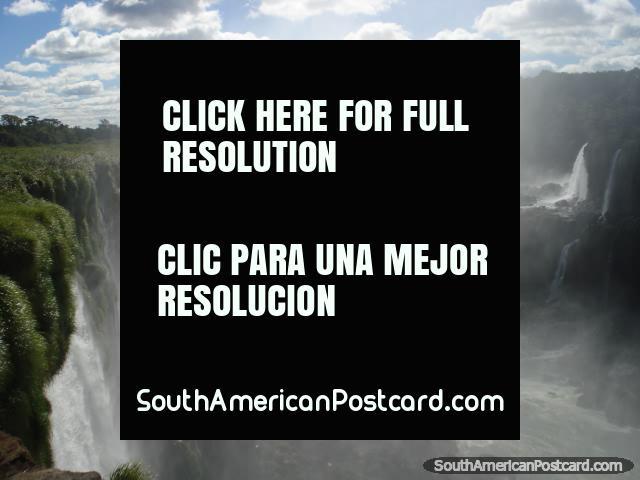 The white water spray coming from the Garganta del Diablo at Iguazu falls. (640x480px). Argentina, South America.