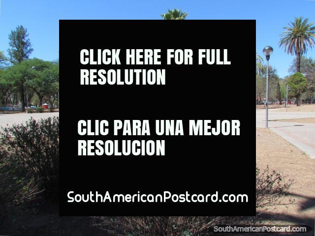 Palmeras y monumento en Parque San Martin en Jujuy. (640x480px). Argentina, Sudamerica.