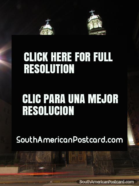 Catedral de Rosario por la noche. (480x640px). Argentina, Sudamerica.