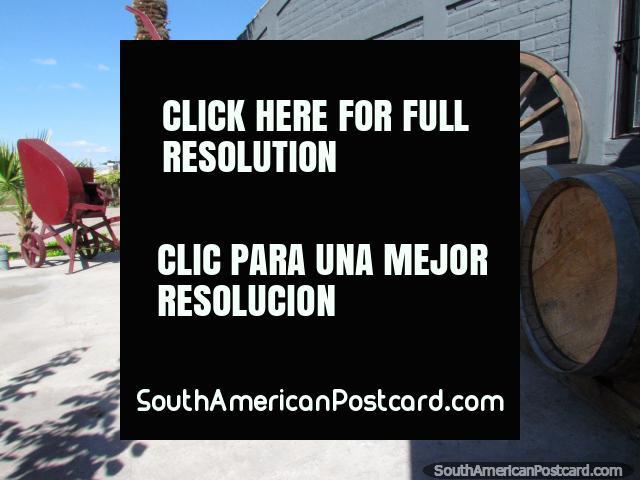 Antique wine making equipment at Bodega Domiciano in Mendoza. (640x480px). Argentina, South America.