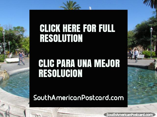 The large fountain in the center of the nice main plaza in San Juan. (640x480px). Argentina, South America.