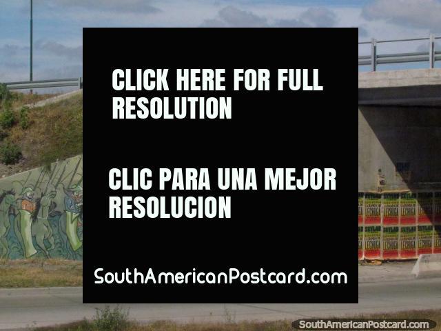 Mural de cena de batalha um pequeno caminho fora de Salta. (640x480px). Argentina, América do Sul.
