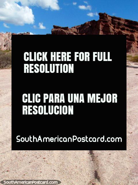 The long walk begins across this harsh terrain in the Quebrada de las Conchas in Cafayate. (480x640px). Argentina, South America.