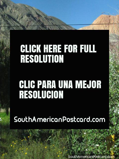 Comunidad y casas en la base de las montañas de 7 colores, Salta a Paso de Jama. (480x640px). Argentina, Sudamerica.