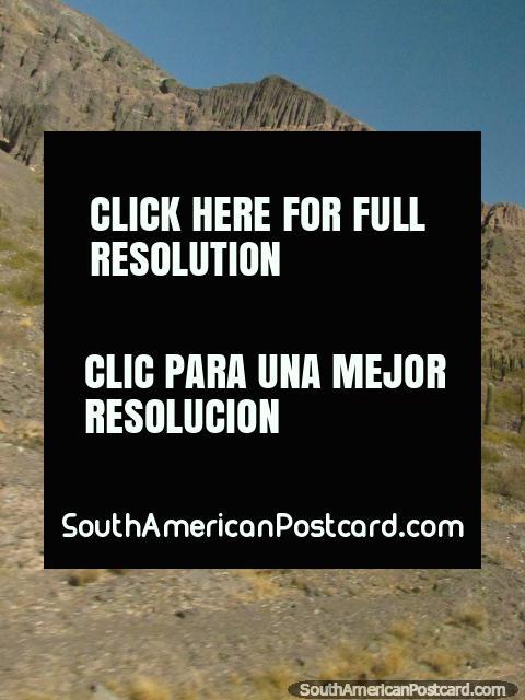 Cacto nas colinas e caras de rocha denteadas, Salta a Paso de Jama. (480x640px). Argentina, América do Sul.