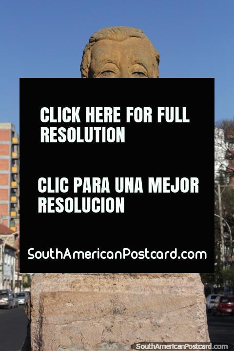 Arturo Umberto Illia (1900-1983), ex-President of Argentina, bust in Salta. (480x720px). Argentina, South America.