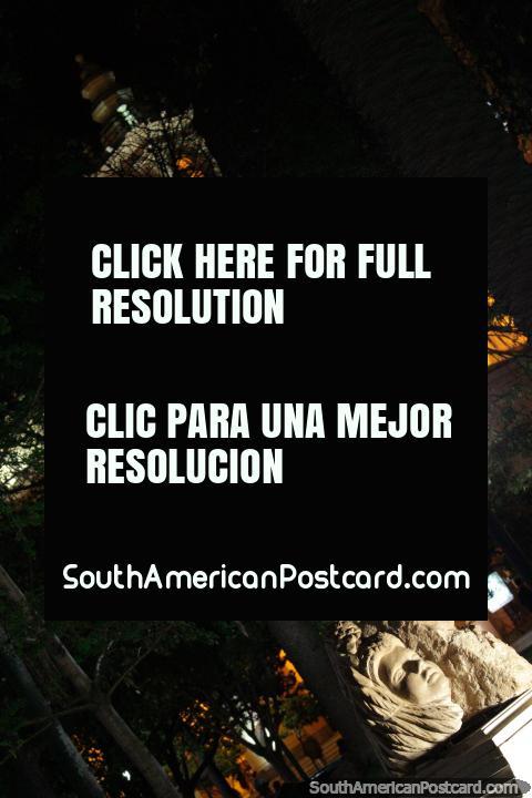 Sculptured art under lights at Plaza 9 de Julio in Salta at night. (480x720px). Argentina, South America.