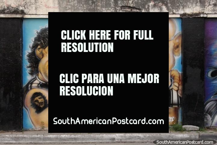 Diego Maradona, el Che Guevara y un otro hombre, mural en Salta. (720x480px). Argentina, Sudamerica.