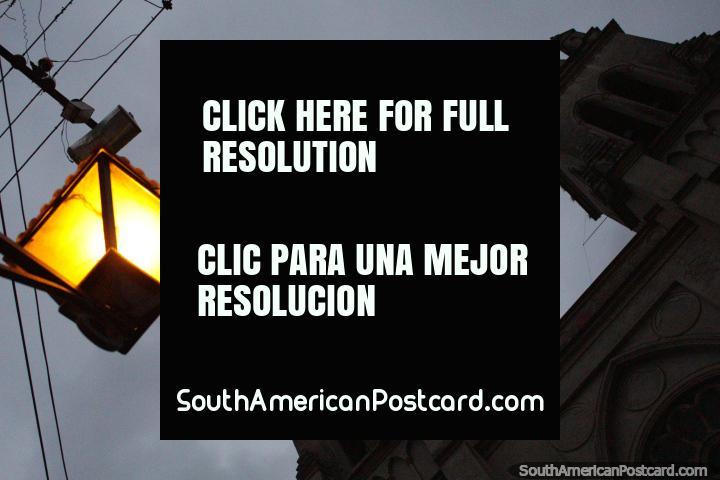 Parroquia San Juan Bautista de la Merced at night, bright street lamp, Salta. (720x480px). Argentina, South America.