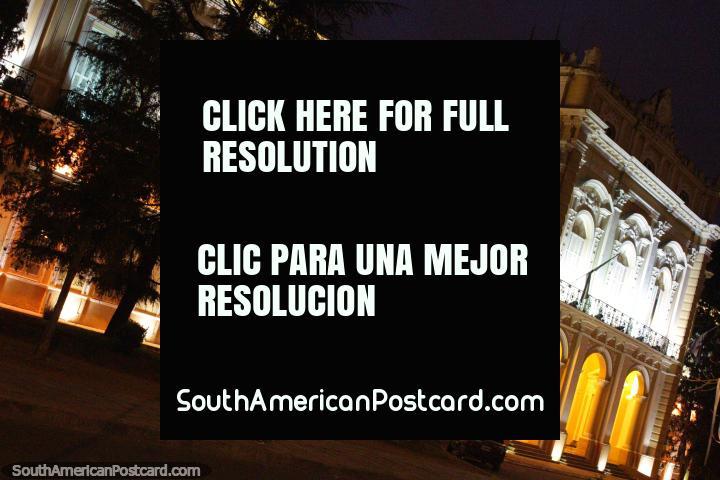 The Legislative Palace under lights at night, Salta. (720x480px). Argentina, South America.