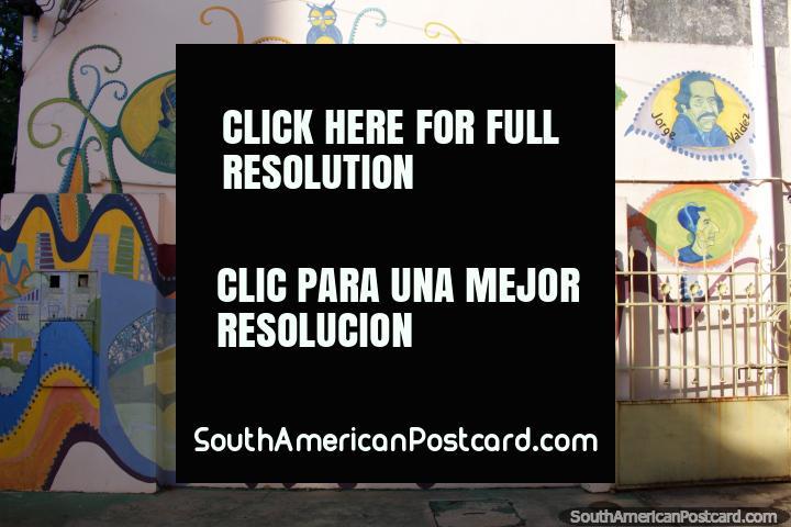 Mural featuring Carlos Lucero, Jovita del Valle, Silvio Romero and Jorge Valdez in Posadas. (720x480px). Argentina, South America.