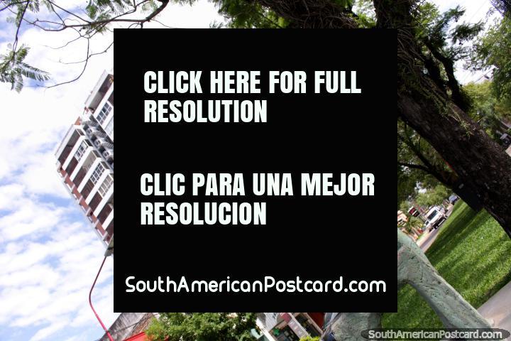 El Gemido de un Fuelle por Francesco Martire, hombre tocando el acordeón, la escultura en Resistencia. (720x480px). Argentina, Sudamerica.