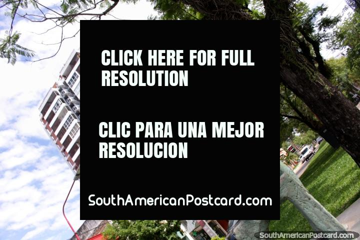 El Gemido de un Fuelle por Francisco Martire, homem que toca acordeão, escultura em Resistencia. (720x480px). Argentina, América do Sul.