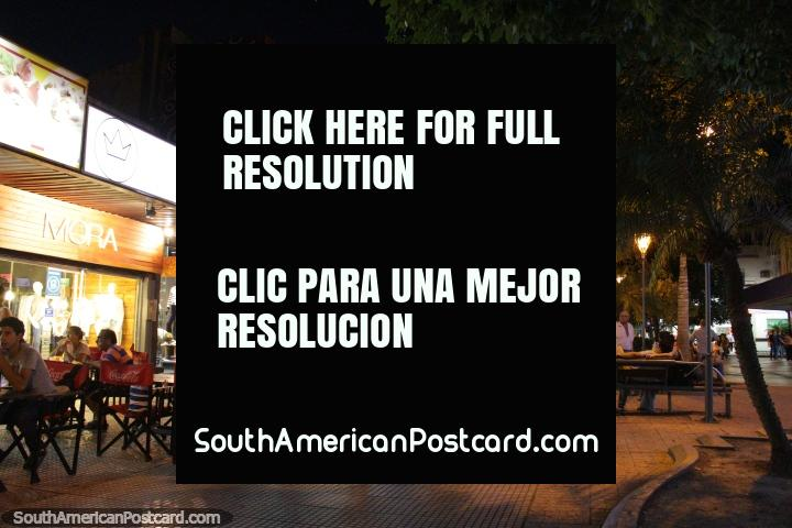 Shops and restaurants, central Resistencia at night. (720x480px). Argentina, South America.