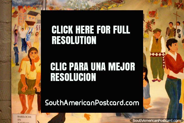 Pintura de Bariloche en Navidad en la catedral, la gente lleva madera. (720x480px). Argentina, Sudamerica.
