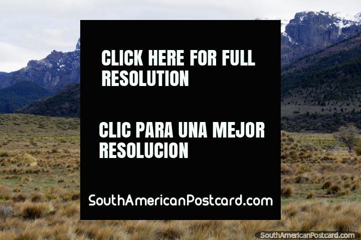 Cavalo branco e montanhas cobertas de neve, uma bela paisagem aberta ao leste de Traful. (720x480px). Argentina, América do Sul.