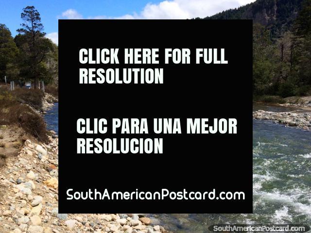 Río y bosque, Ruta 40 en el camino de 7 lagos entre Angostura y San Martín. (640x480px). Argentina, Sudamerica.
