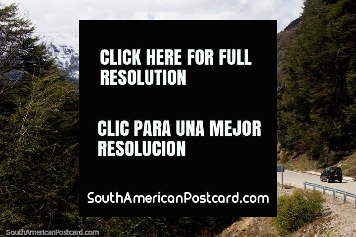 The road and mountains near Villarino Lake between Villa La Angostura and San Martin de los Andes. (720x480px). Argentina, South America.