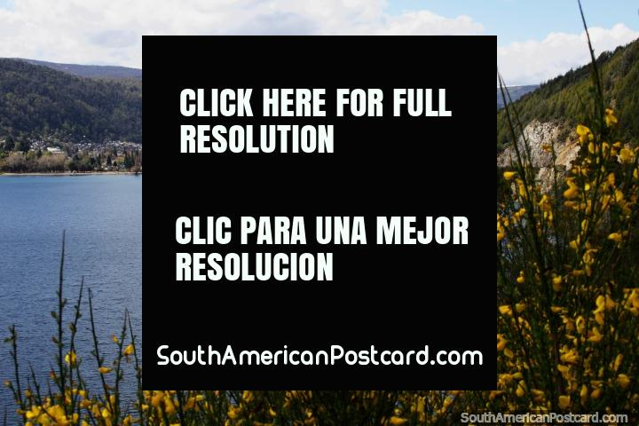 Lake Lacar and the town of San Martin de los Andes, north of Bariloche. (720x480px). Argentina, South America.