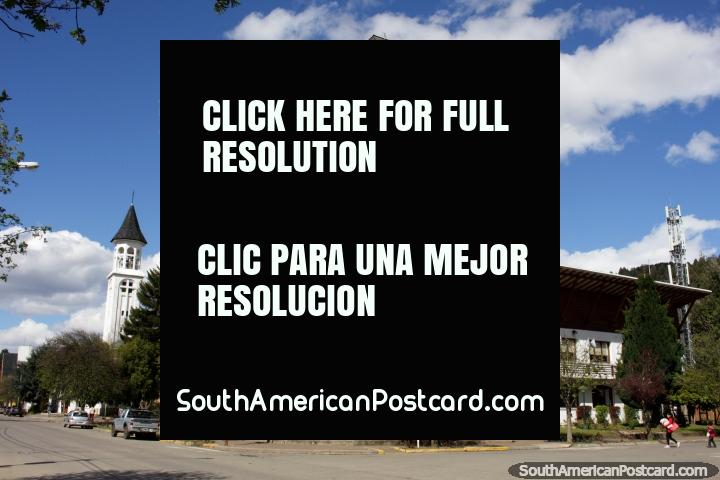 Clock tower and bell tower, government building and church in San Martin de los Andes. (720x480px). Argentina, South America.