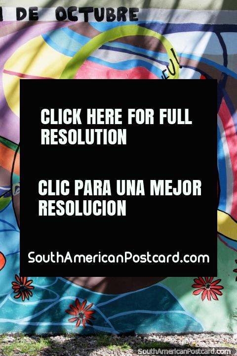 Marichi Weu, a woman dancing! Colorful mural in El Bolson. (480x720px). Argentina, South America.