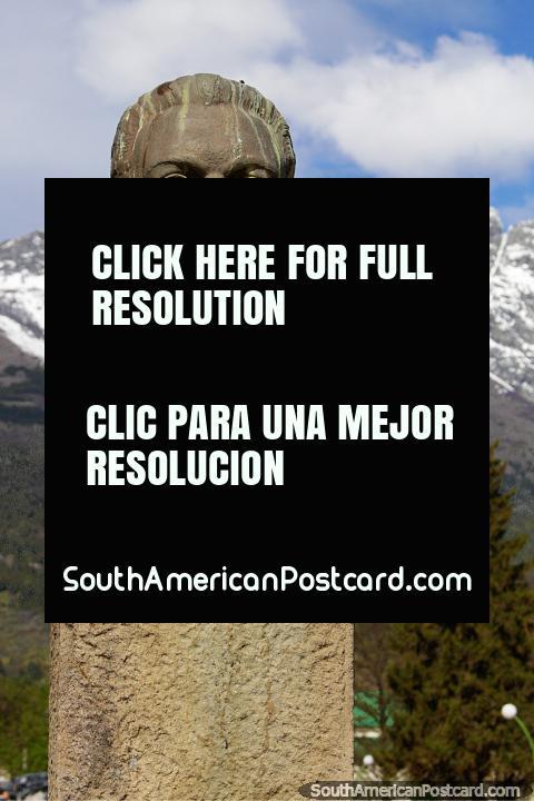 Adalberto Pagano (1894-1960), Governor of Rio Negro department, bust in El Bolson. (480x720px). Argentina, South America.