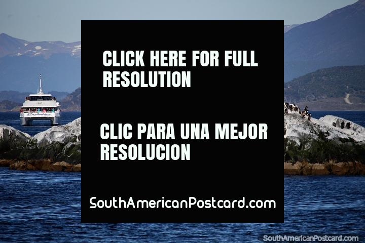 Isla blanca habitada por aves y un distante ferry de pasajeros en Ushuaia. (720x480px). Argentina, Sudamerica.