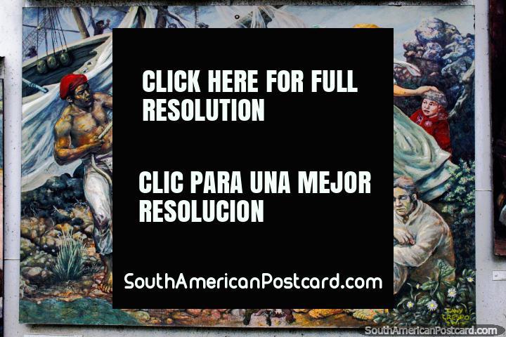 Mural de una escena de acción, historia local de Tierra del Fuego en Ushuaia. (720x480px). Argentina, Sudamerica.