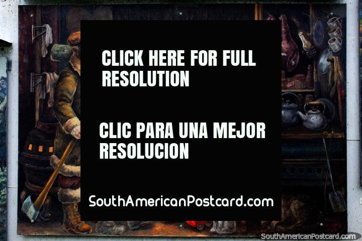 A mulher tricotou e faz o seu cabelo, os homens trazem a lenha, o mural no museu em Ushuaia. (720x480px). Argentina, América do Sul.