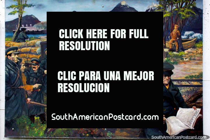 Os presos trabalham abaixo de guarda, mural da história da Terra do Fogo em Ushuaia. (720x480px). Argentina, América do Sul.