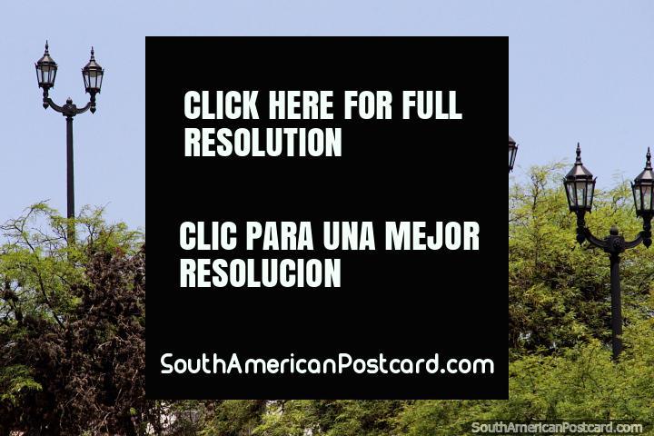 Lâmpadas e uma estátua escondida atrás de árvores no Parque Sarmiento, em Córdoba. (720x480px). Argentina, América do Sul.