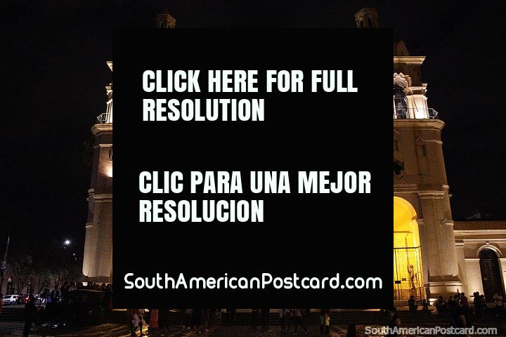 Cathedral of Cordoba at night with lights at Plaza San Martin. (720x480px). Argentina, South America.