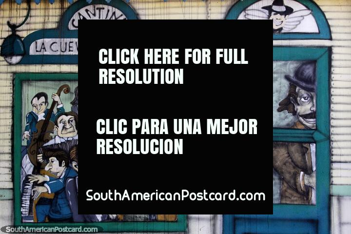 Cantina La Cueva de Zingarella, musicians play and people dance, mural in La Boca, Buenos Aires. (720x480px). Argentina, South America.