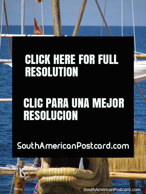 The dragon boats of Isla del Sol at Lake Titicaca. (480x640px). Bolivia, South America.