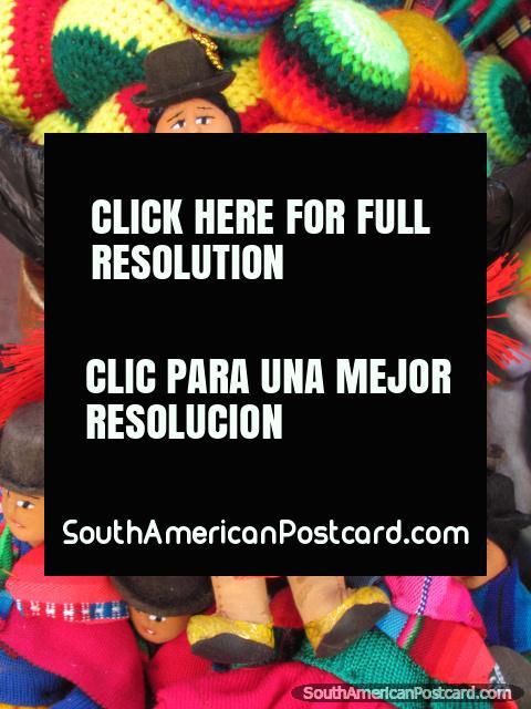Little indigenous Bolivian women dolls in La Paz. (480x640px). Bolivia, South America.