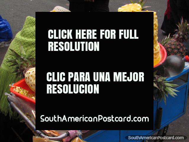 Pineapple juice for sale in La Paz street. (640x480px). Bolivia, South America.