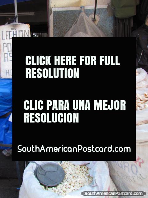 Snacks sold from big sacks in La Paz markets. (480x640px). Bolivia, South America.