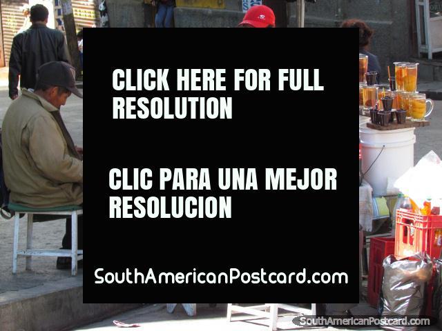 Glasses of fresh peach juice for sale in La Paz streets. (640x480px). Bolivia, South America.