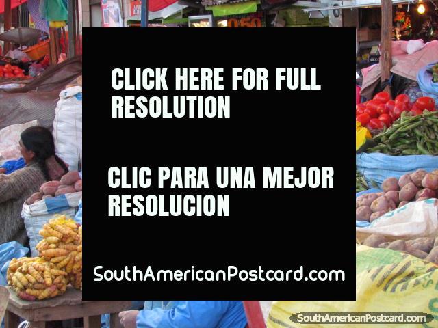 Vegetables, pumpkins, yams, La Paz markets. (640x480px). Bolivia, South America.
