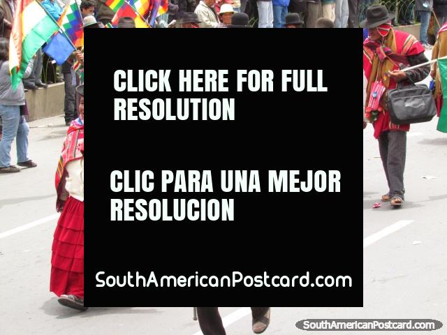 A group of indigenous in La Paz parade and march. (640x480px). Bolivia, South America.