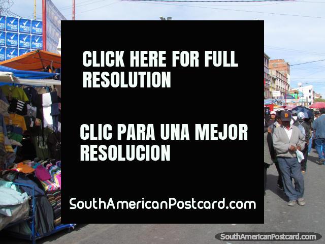 Clothes market in Oruro. (640x480px). Bolivia, South America.