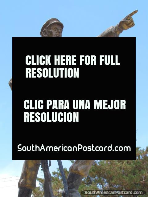 Chaco War (1932-1935) monument in Tupiza featuring John Travolta. (480x640px). Bolivia, South America.