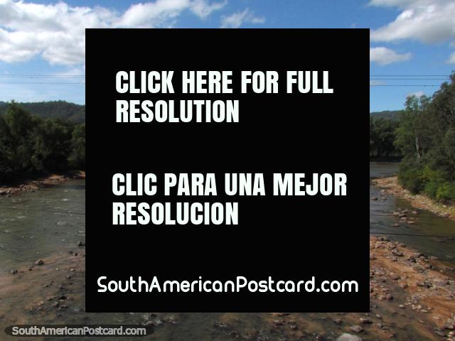 Parapeti River with many brown boulders between the border of Paraguay and Santa Cruz. (640x480px). Bolivia, South America.
