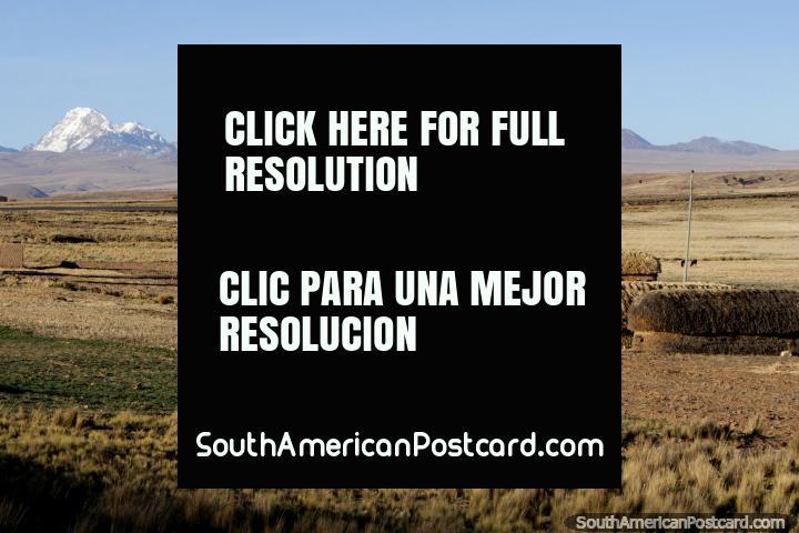 Casas de ladrillo y heno, un molino de viento, montañas detrás, entre Tiahuanaco y La Paz. (720x480px). Bolivia, Sudamerica.