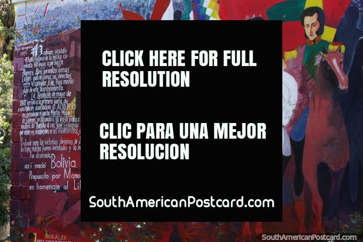 Mural of Simon Bolivar and Manuel Martin Cruz at Plaza Lizardi in Tarija. (720x480px). Bolivia, South America.