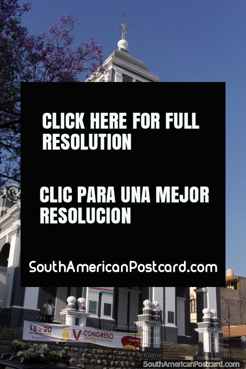 Iglesia San Roque en Tarija, gris y blanco con una torre de reloj. (480x720px). Bolivia, Sudamerica.
